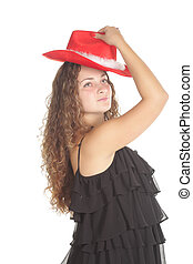 Red hat - Photo of pretty curled girl in a red hat isolated