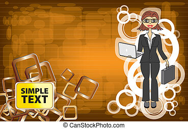 abstract background with a businesswoman