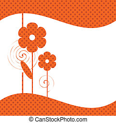 Red flowers - Cute floral background. Vector art