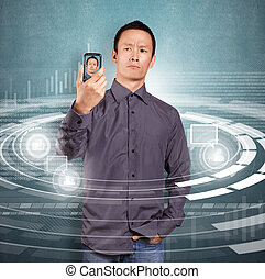Asian Man Making An Avatar - Asian man making an avatar on...