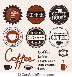 set of vintage labels and coffee