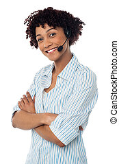 Confident smiling female telecaller - Female telecaller with...