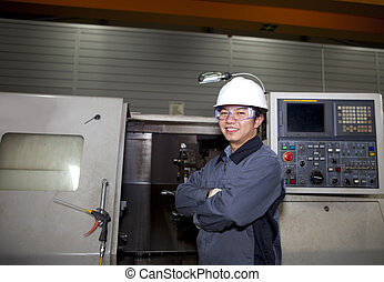 mechanical technician of cnc machine - portrait mechanical...