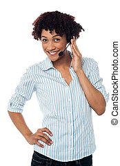 How can I help you today - Female telemarketer wearing...