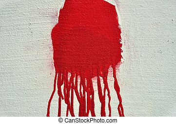 red paint drips - Red paint drips over textured white wall...