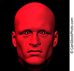 red with anger - Man with fiery eyes, red with anger 3d...