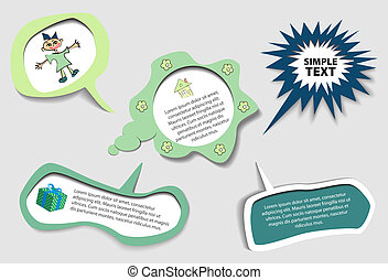 green speech bubbles set
