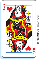 Cartoon Queen of Hearts - Cartoon illustration of a queen of...