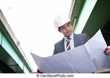highway construction contractor - asian young architect...