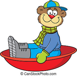 Cartoon sledding bear - Cartoon illustration of a bear...