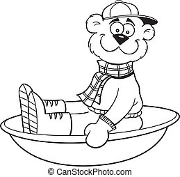Cartoon sledding bear - Black and white illustration of a...