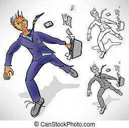 Desperate businessman runs losing things