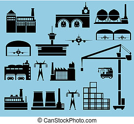 Industrial city - Industrial buildings on a blue background
