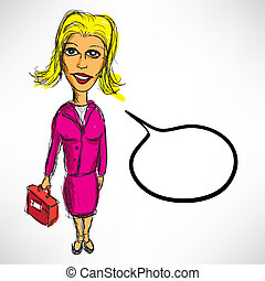 Sketch of a businesswoman with a briefcase