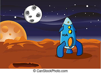 American space rocket on Mars