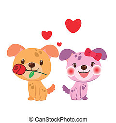 illustration of a pair of dog huddled together