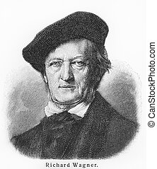 Richard Wagner - Picture from Meyers Lexicon books written...