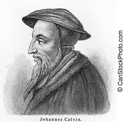 John Calvin - Picture from Meyers Lexicon books written in...