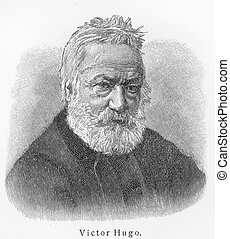 Victor Hugo - Picture from Meyers Lexicon books written in...