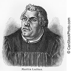 Martin Luther - Picture from Meyers Lexicon books written in...