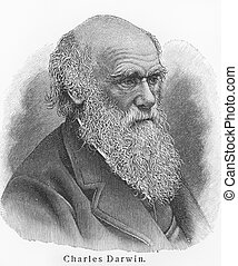 Charles Darwin - Picture from Meyers Lexicon books written...