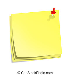 Yellow stick notes with red pin isolated on white background