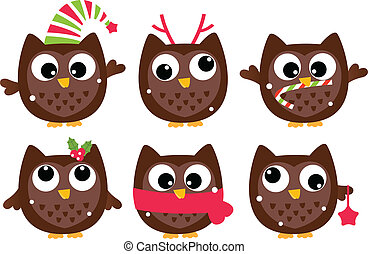 Cute cartoon christmas Owls set isolated on white - Funny...