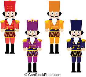 Colorful retro Nutcrackers set isolated on white - Tin...