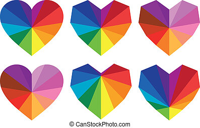 colorful hearts, vector set
