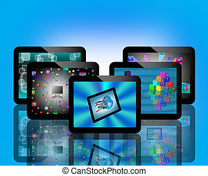 tablets - Abstraction of five conventional tablets for web...