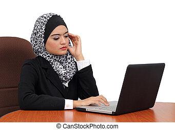 tension, femme, bureau, Travail, fatigué, musulman, jeune,...