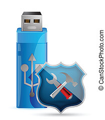 USB Flash Drive with Shield illustr