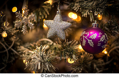 The decoration on the tree - Christmas toys hung on the...