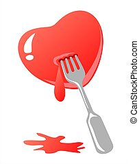 heart and fork - Stylized heart with fork and blood isolated...