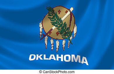Flag of Oklahoma American State waving in the wind detail