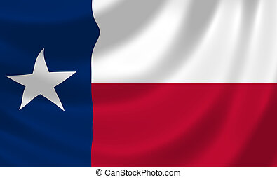 Flag of Texas American State waving in the wind detail