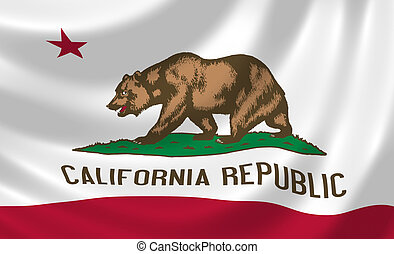 Flag of California American state waving in the wind
