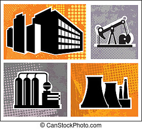Industrial buildings on a colore background