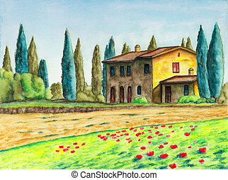 Country house - Rural landscape with a typical italian house...