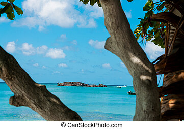 View of Island in Turquoise Water - Island in turquoise...