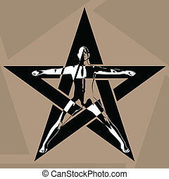 Pentagram - The man in the pentagram. Vector illustration.