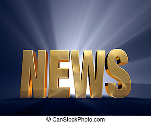 Exciting News - Gold word News on dark blue background...