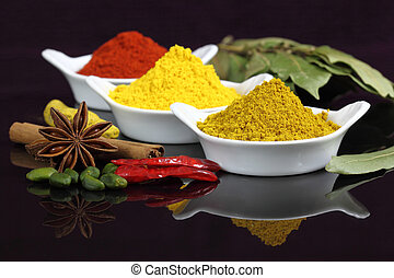 Indian spices - Spices and herbs in white ceramic bowls....