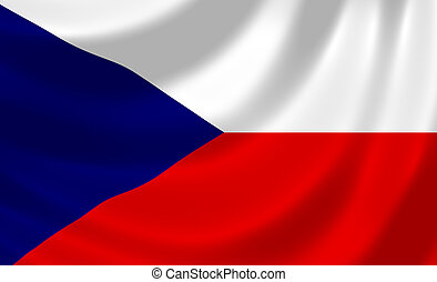 Flag of Czech Republic waving in the wind detail