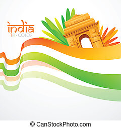 wave style indian flag - vector wave style indian flag with...