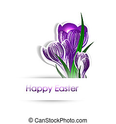 Easter Flowers - Easter Greetings With Crocus Flowers Over...