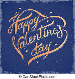 Inscription on Valentines Day - Decorative lettering on...
