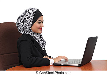Young Asian business women with a laptop and isolated background