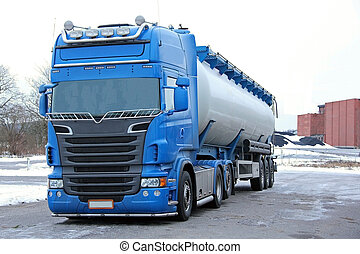Blue Tanker Truck ready for delivery.