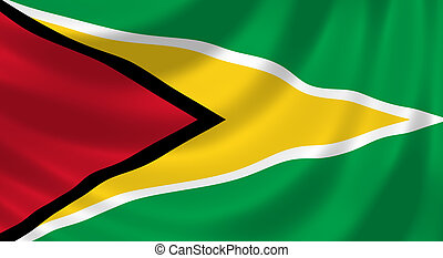 Flag of Guyana waving in the wind detail